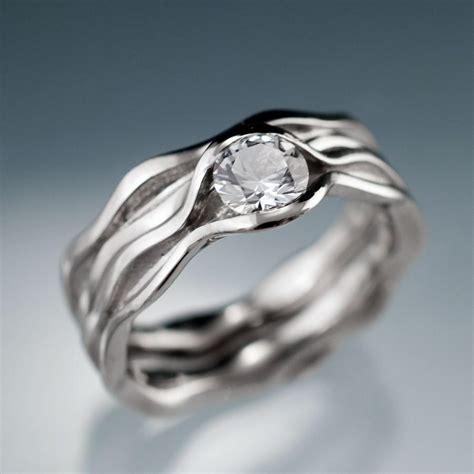 white sapphire bridal rings wave wedding ring bridal set