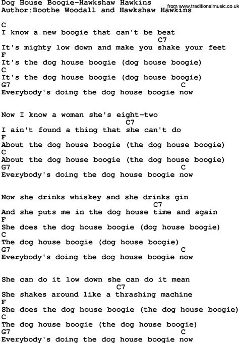 dog house boogie country music dog house boogie hawkshaw hawkins lyrics and chords