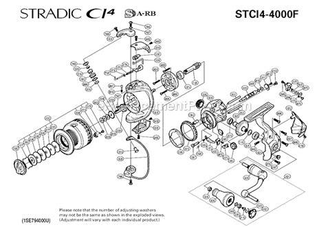 shimano stradic parts diagram shimano stci4 4000f parts list and diagram