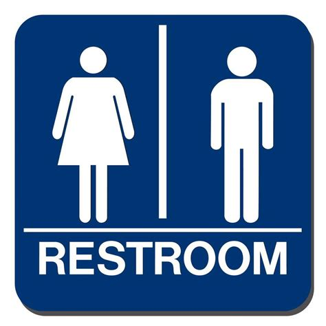 Bathroom Signs And Lynch Sign 8 In X 8 In Blue Plastic With Braille