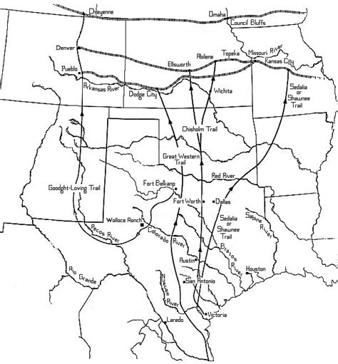 texas cattle trails map texas cattle trails map