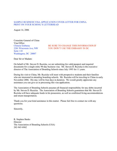 Sample Business Letter For Indian Visa Application   Cover