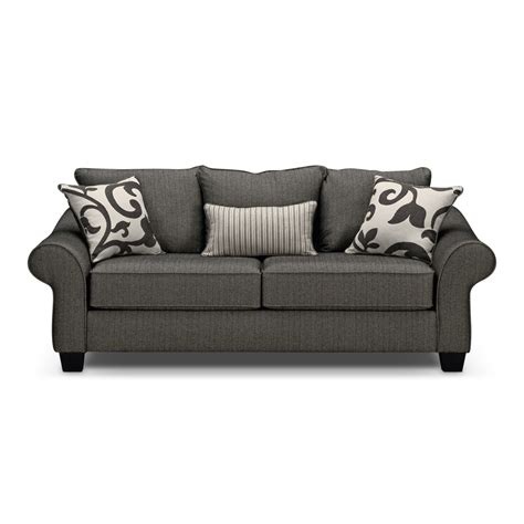 gray couch colette gray sofa value city furniture