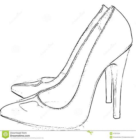 Heel Shoes Lines stockfoto high heel shoes line sketch bild