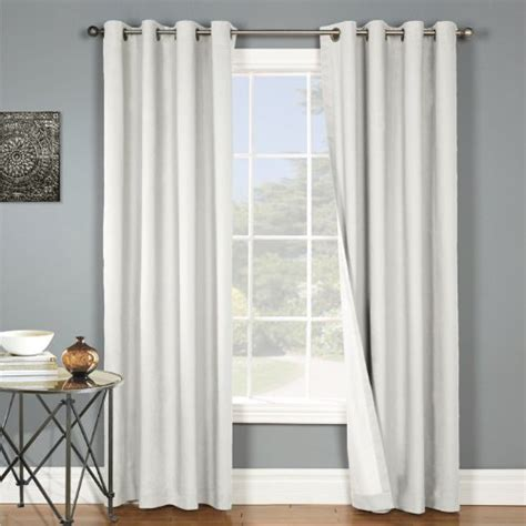 white silk curtains lined two panels blackout white grommet faux silk window curtain