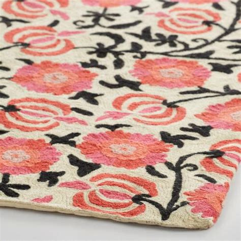 pink floral rugs 4x6 pink floral crewel wool mira area rug world market