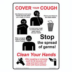 cover your cough use tissue sign nhe 13119 hand washing