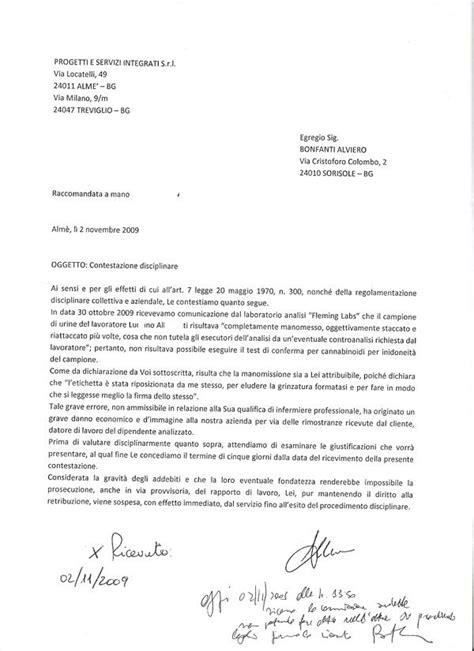 lettere di contestazione disciplinare contestazione disciplinare bonfanti oliviero alviero alfiero