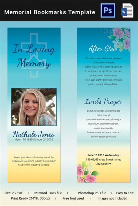 Funeral Bookmarks Template Free by 10 Memorial Bookmarks Templates Free Psd Ai Eps