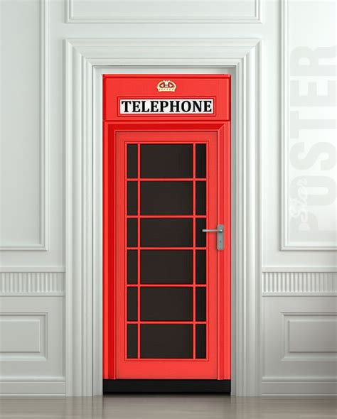 door stickers door sticker telephone box london red mural decole film