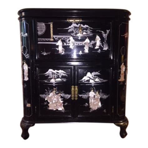 regency black lacquer chinoiserie bar cabinet chairish