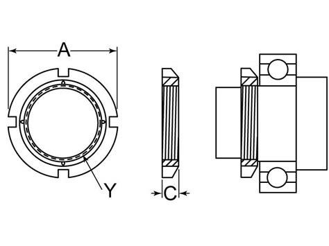 l shade retaining nut bearing retaining locknut 3 340 12 x 635 steel g l huyett