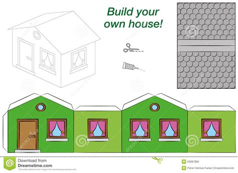 make a house online paper model house template green stock vector image