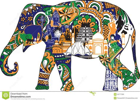 elephant with indian symbols stock vector illustration