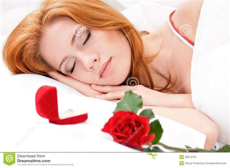 girl lying bed with flowers girl on bed royalty free stock photo image 30314155