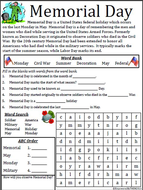memorial day printable activity sheets empowered by them memorial day freebie