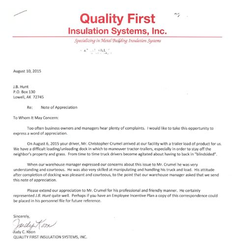 appreciation letter to driver j b hunt truck talk a word of appreciation for