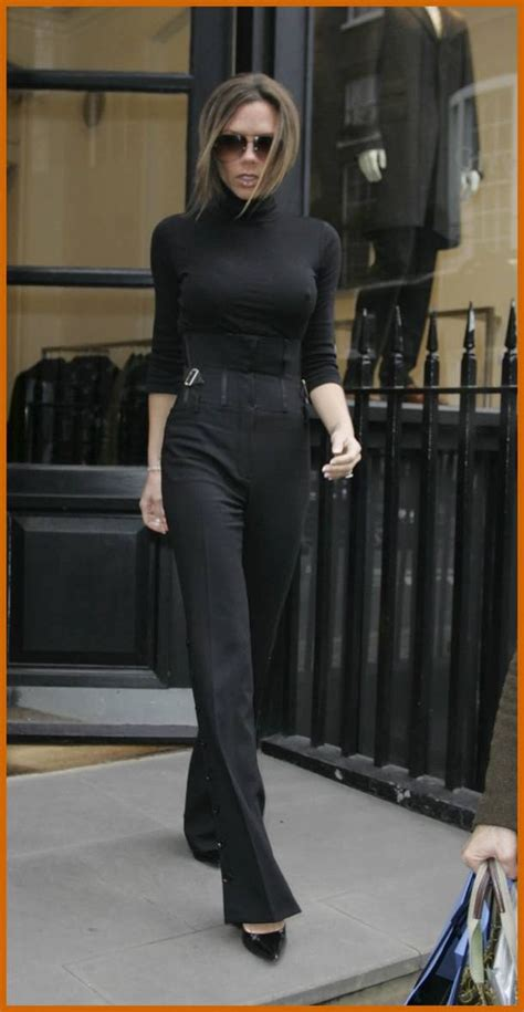 Mrs Beckham Looks Cool In by Beckham Flared Black Trousers Fitted