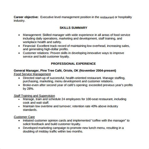 Restaurant Manager Resume Sles Pdf Restaurant Resume 10 Free Documents In Pdf