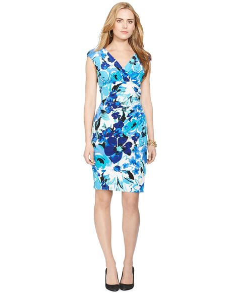 Rl Dress Glowing Blue by ralph cap sleeve floral print dress in blue lyst