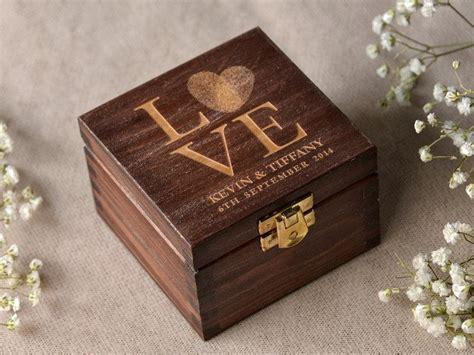 wooden engraved wedding ring box wood wedding ring bearer box fingerprint box rustic