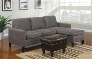 sausalito grey microfiber small sectional sofa set at