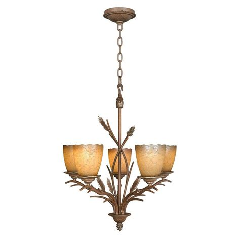 Lodge Chandelier Hton Bay Lodge 5 Light Weathered Spruce Chandelier 17185 The Home Depot