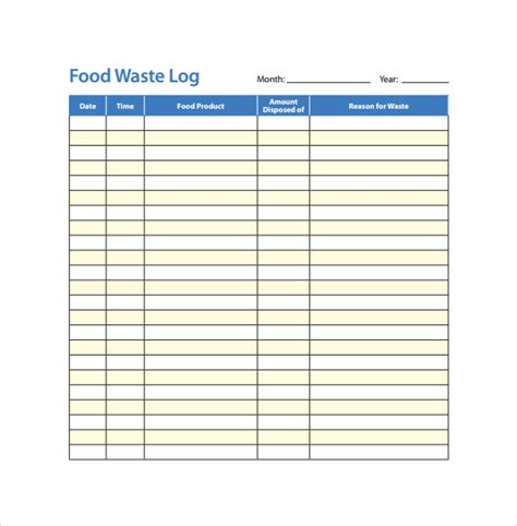 Food Waste Log Template food log template 15 free documents in pdf