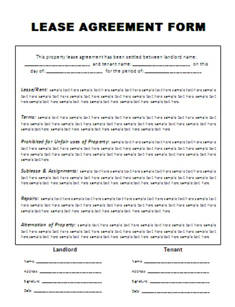 template for a lease agreement rental lease agreement form free word s templates