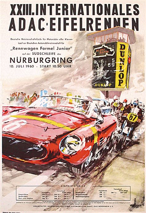 German Auto Racing by Original Vintage 1960 German Auto Racing Poster