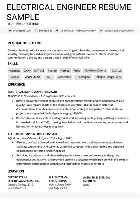 Electrical Engineer Resume Exle Writing Tips Resume Genius Resume Template For