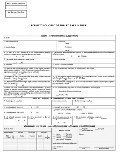 formato de solicitud formato de solicitud empleo para llenar pictures