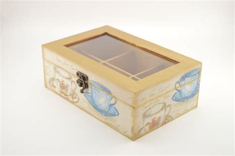 Wooden Decoupage Box - decoupage tea box wooden box tea box tea cups decoration