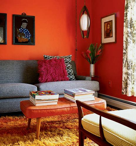 orange walls living room mid century living room with orange walls flickr photo