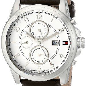 jual hilfiger s stainless steel with brown leather band original baru jam