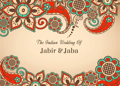 Wedding Vector Indian by Free Vector Colorful Indian Wedding Card Free