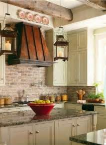 Faux Brick Backsplash In Kitchen Brick Backsplashes Rustic And Of Charm Copper Vent And