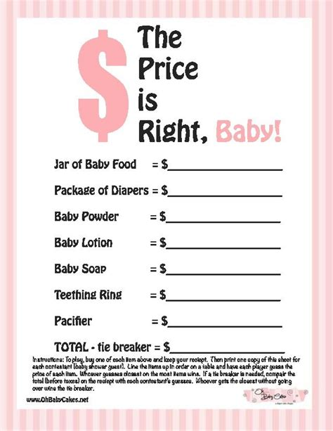 girl baby shower game ideas the price is right baby shower game this is not the