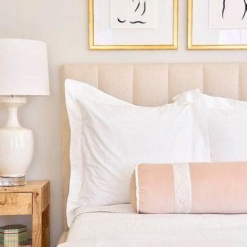 blush pink velvet channel tufted headboard design ideas