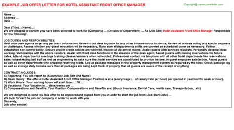 Promotion Letter As Assistant Manager Hotel Front Office Shift Manager Offer Letters