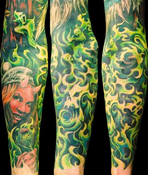 green tattoo green flames pencil on arm for photo 3 2017