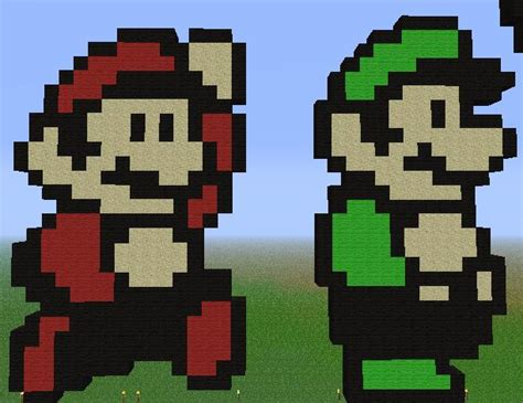 famous characters in pixel art mario and luigi minecraft mario and luigi by unstable life on deviantart