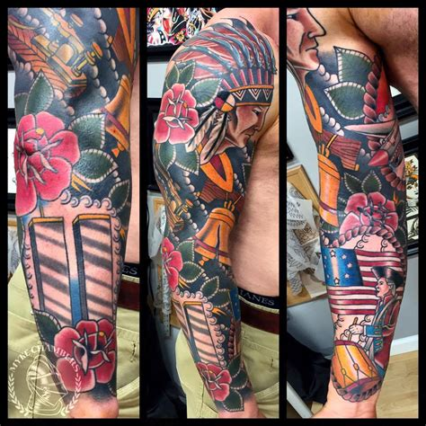 traditional sleeve tattoo traditional american history sleeve by myke chambers