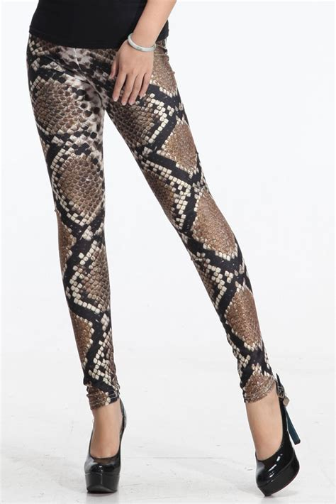 reptile pattern leggings stylish close fitting snake pattern leggings