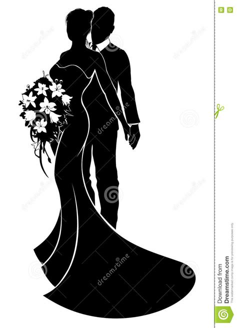 Wedding Siluet by Wedding Dress Clipart And Groom Silhouette Pencil
