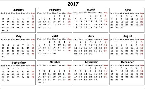 2017 Calendar On 1 Page Annual Calendar 2017 One Page Free Monthly Calendar