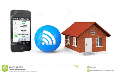 home automation concept mobile phone and house stock