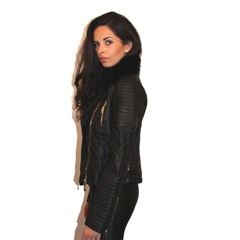 cheap collars leather jacket with fur jacket to