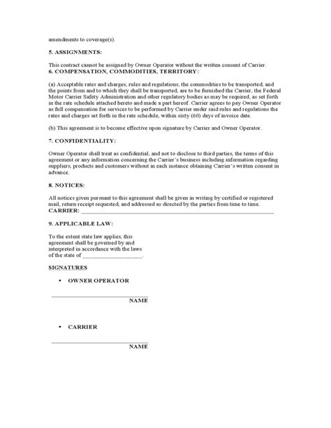 Lease Termination Letter For Trucking Owner Operator Lease Agreement Sle Form Free