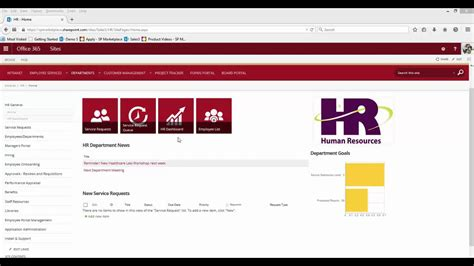 office 365 sharepoint hr human resources template youtube